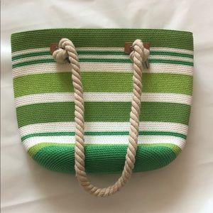 Handbags - Green Stripe Straw Bag